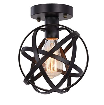 buy popular 7b45d 8f3de Metal Globe Ceiling Light SEEBLEN Semi-Flush Mount Pendant Ceiling Light  with Mini Metal Cage Ceiling Lighting Fixture for Foyer(Black) …