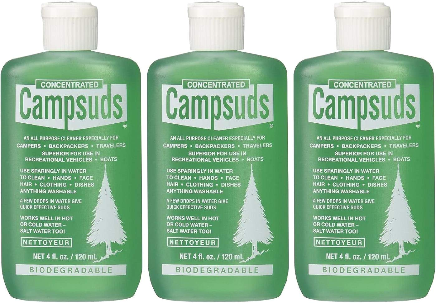Sierra Dawn Campsuds Outdoor Soap Biodegradable Environmentally Safe All Purpose Cleaner, Camping Hiking Backpacking Travel Camp, Multipurpose for Dishes Shower Hand Shampoo (4-Ounce, 3 Bottles)