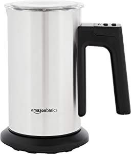 AmazonBasics Electric Milk Frother and Heater, Silver