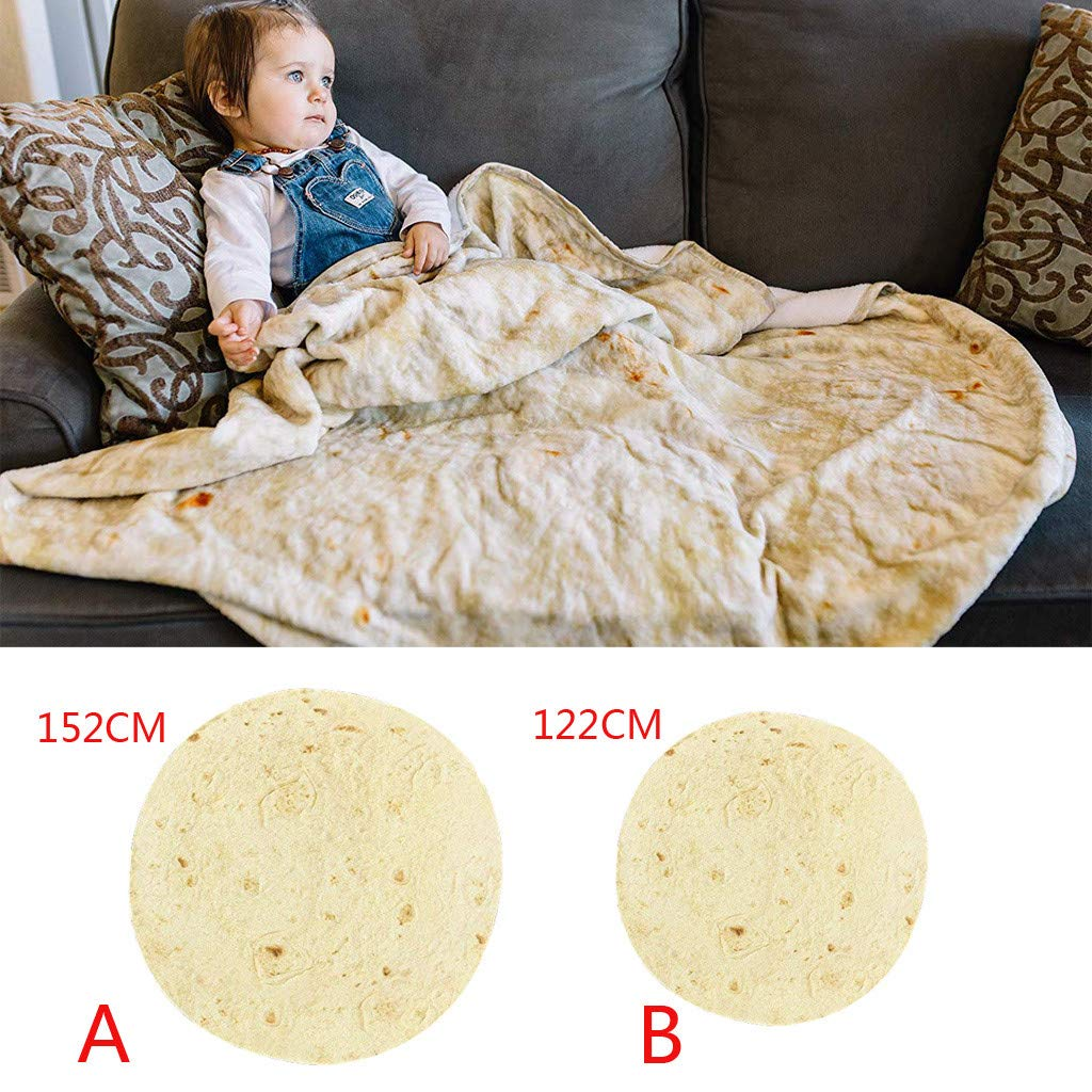 Giant Tortilla Towel || Microfiber Tortilla Beach Towel 5 ft Diameter || Make Yourself A Giant Burrito with This Photo-Realistic Tortilla Blanket Guarantee (50 inches B)