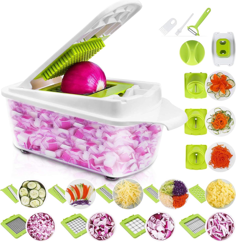 Sedhoom 23 Piezas Cortador de Verdura Mandolina de Verduras Multifuncional Mandolina de Cocina Slicer Espiral Rallador de Cuchillas Acero Inoxidable, Pelador
