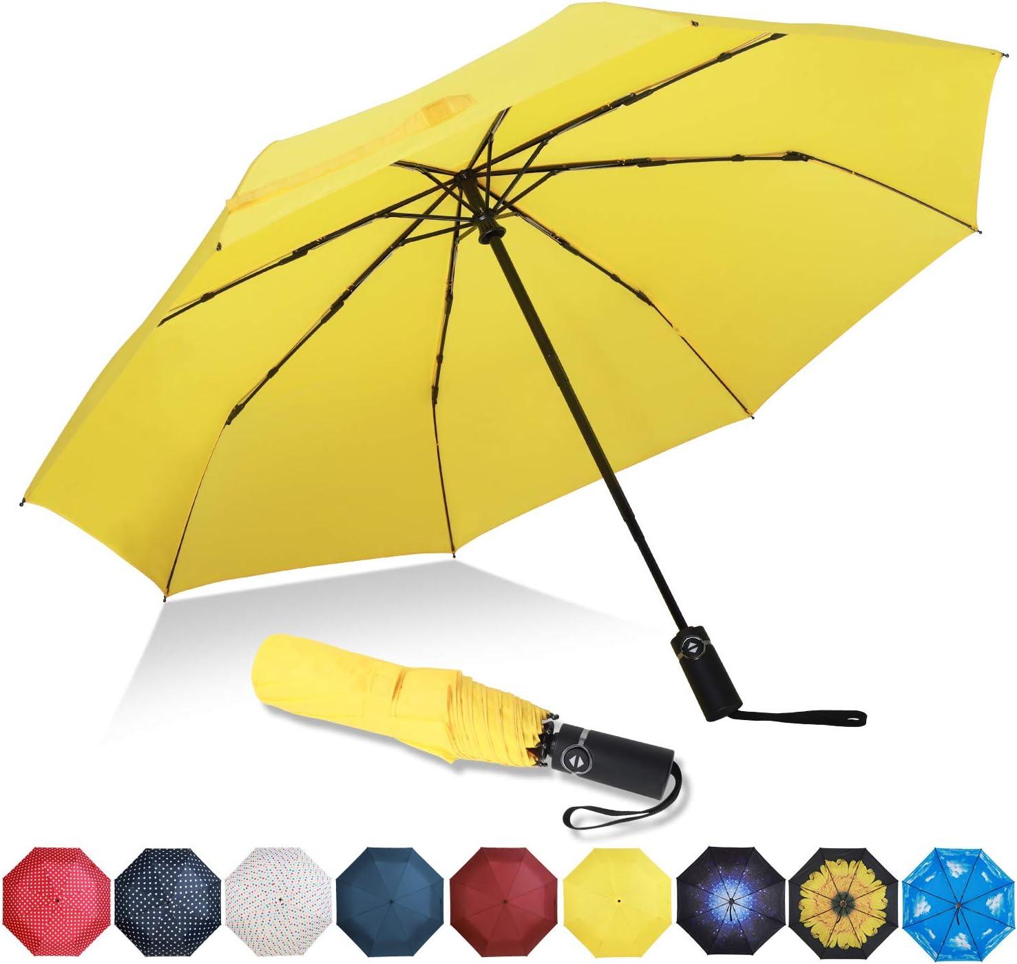 Eono by Amazon - Paraguas Plegable Automático Impermeable, Paraguas de Viaje Compacto a Prueba de Viento, Folding Umbrella, Recubrimiento de Teflón, Dosel Reforzado, Mango Ergonómico, Amarillo