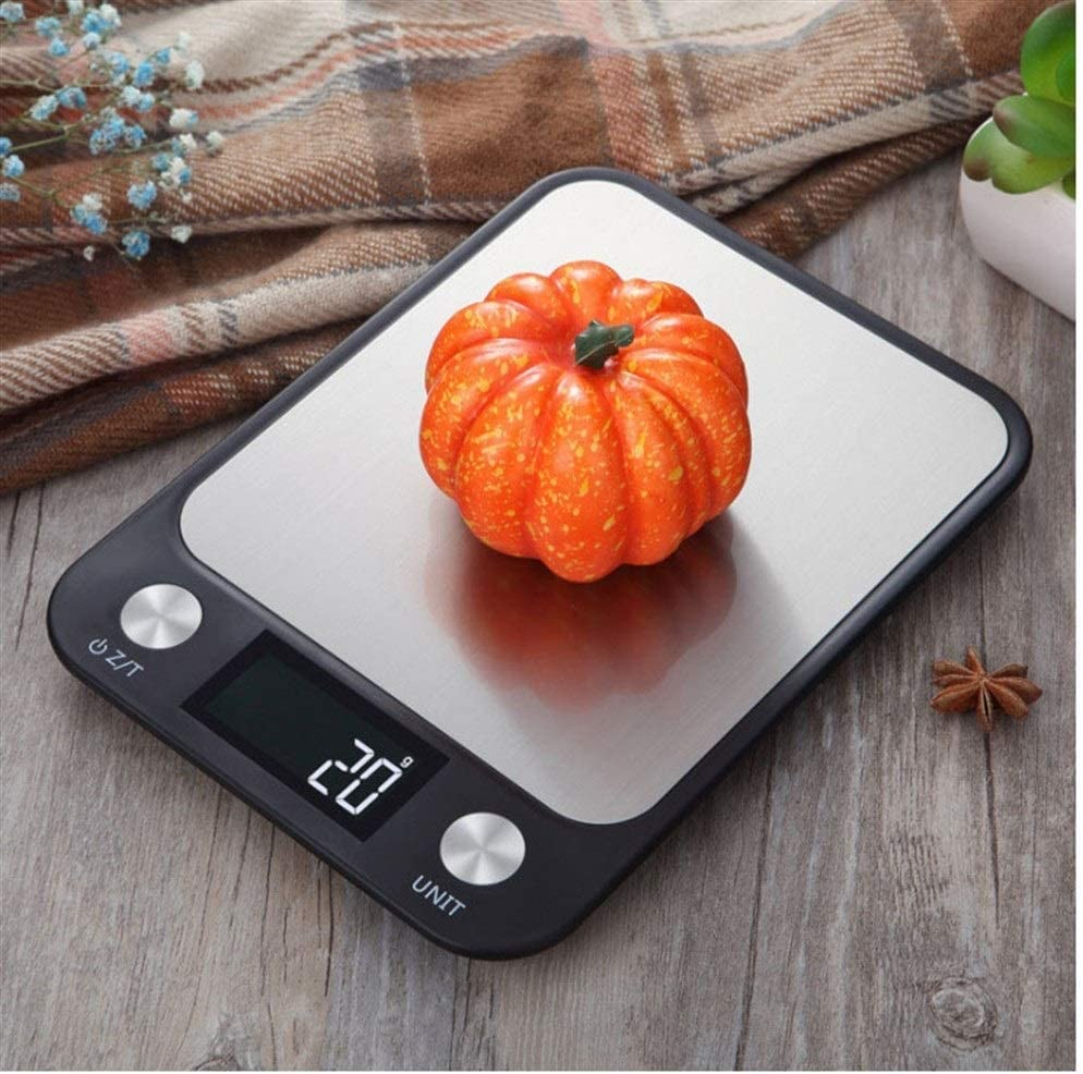 LittleCat Waterproof 5kg Electronic Scale Food Food Baking Scale Stainless Steel Kitchen Flat Scales Household Weighing (Color : Battery black5kg/1g)