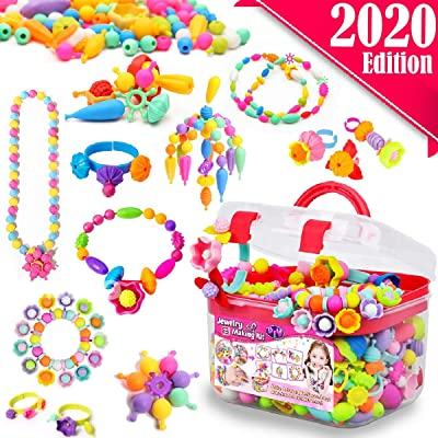 FunzBo Snap Pop Beads for Girls Toys - Kids Jewelry Making Kit Pop-Bead Art and Craft Kits DIY Bracelets Necklace Hairband and Rings Toy for Age 3 4 5 6 7 8 Year Girl Old: Toys & Games