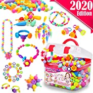FunzBo Snap Pop Beads for Girls Toys - Kids Jewelry Making Kit Pop-Bead Art and Craft Kits DIY Bracelets Necklace Hairband a