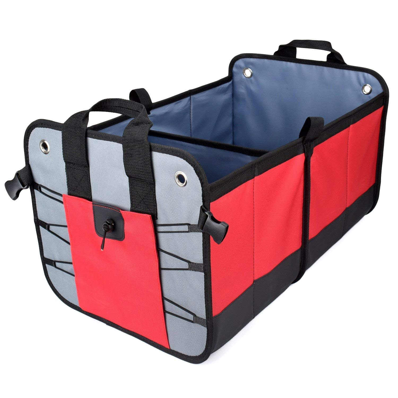 Vovoly Car Tronco Organizador Plegable y resistente antideslizante impermeable Compartimentos múltiples portátiles almacenamiento de carga para