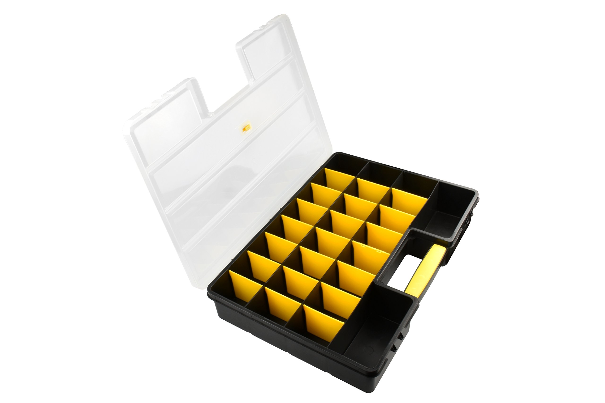 SE 87322DB 26 Compartment Large Plastic Storage Box with Adjustable Sections, 18'' x 12'' x 3'', Black/Yellow/Clear