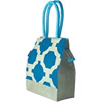 Foonty Daily Use Women Jute Lunch Bag(Turquoise,6298)