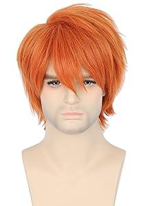 Topcosplay Anime Short Wig Orange Free Bangs Halloween Cosplay Costumes Wig for Men or Women