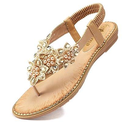 Odema Women's Bohemian Flat Sandals Elastic Slip On Flower Rhinestone Flip Flop Shoes | Flats