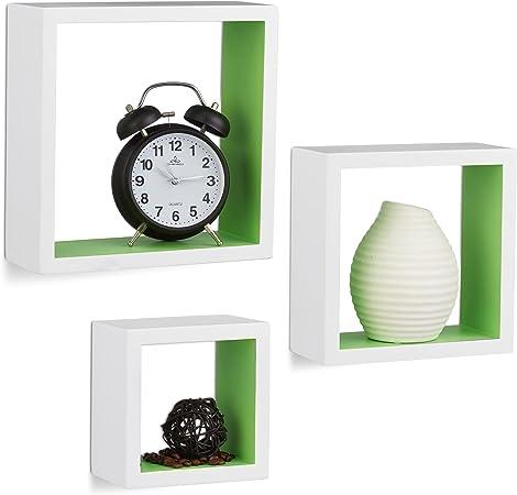 Support MuralBois Relaxdays x Suspendre 25 cm Etagère Cubes x MDFVert9 à 252 25 Set 3 de 10021791 EY2IDW9H