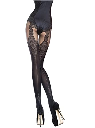 754657e748209 Fiore Luxury Super Fine 40 Denier Sheer Patterned Tights: Amazon.co.uk:  Clothing