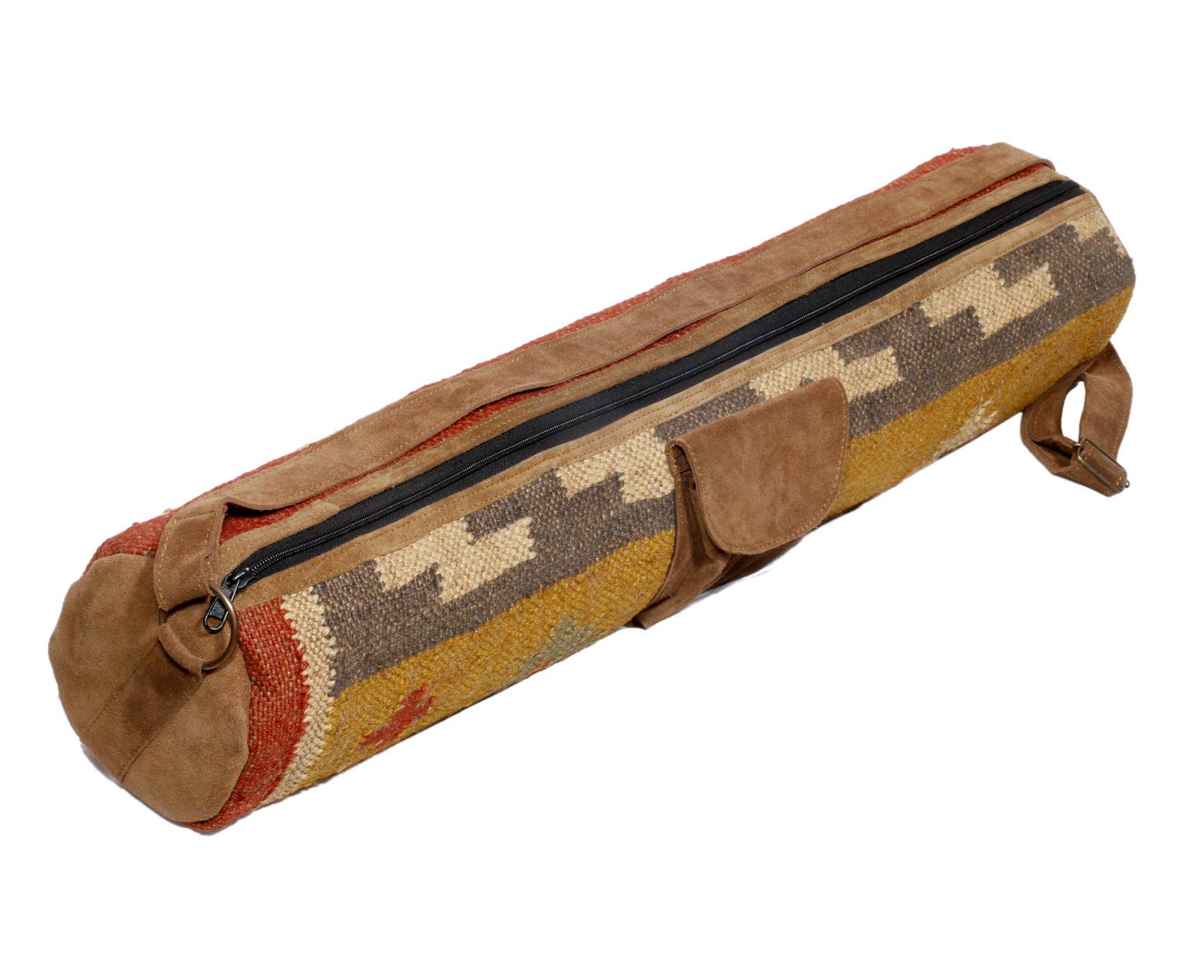 Indistar Vintage Handmade Ethnic Kilim Yoga Mat Bag by Indistar