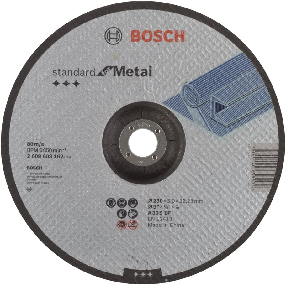 Bosch 2 608 603 162 - Disco de corte acodado Standard for Metal - A 30 S BF, 230 mm, 22,23 mm, 3,0 mm (pack de 1)