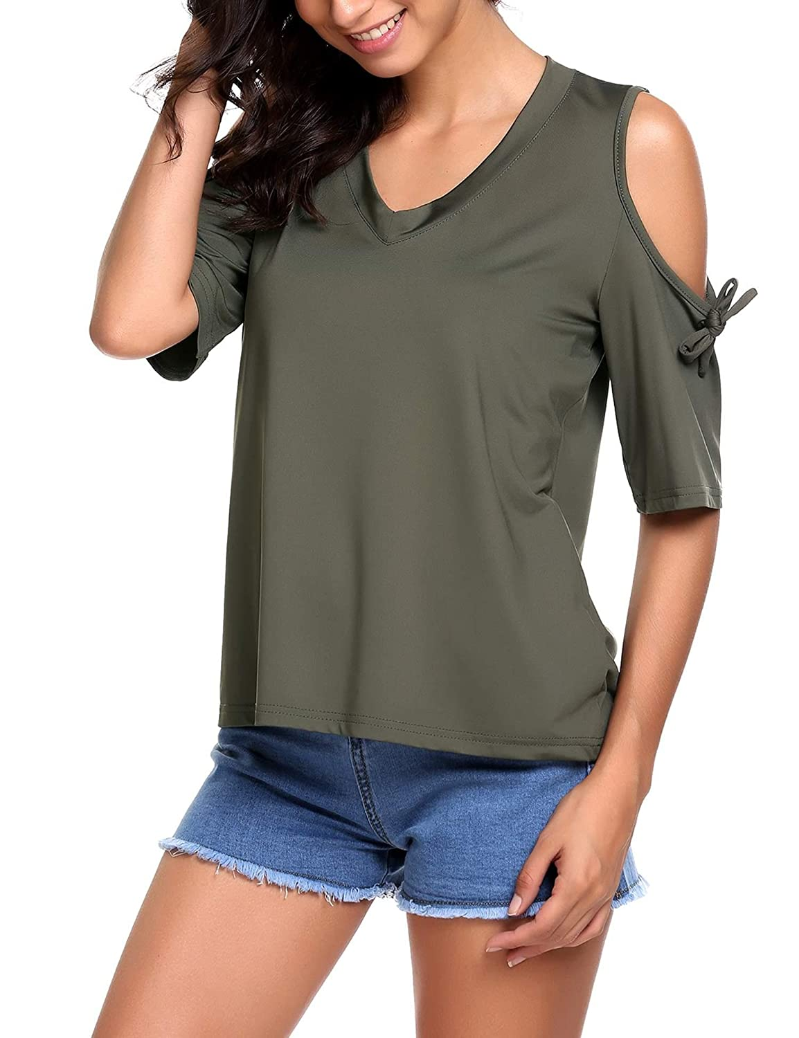 BeautyUU Women Loose Casual V-Neck Short Sleeve Cut Out Shoulder Top Pullover T-Shirt