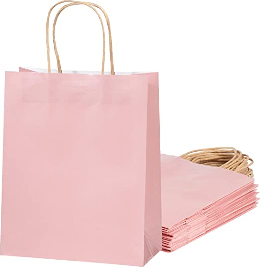 Amazon.com: Bolsas de regalo de color rosa – Bolsas de papel ...