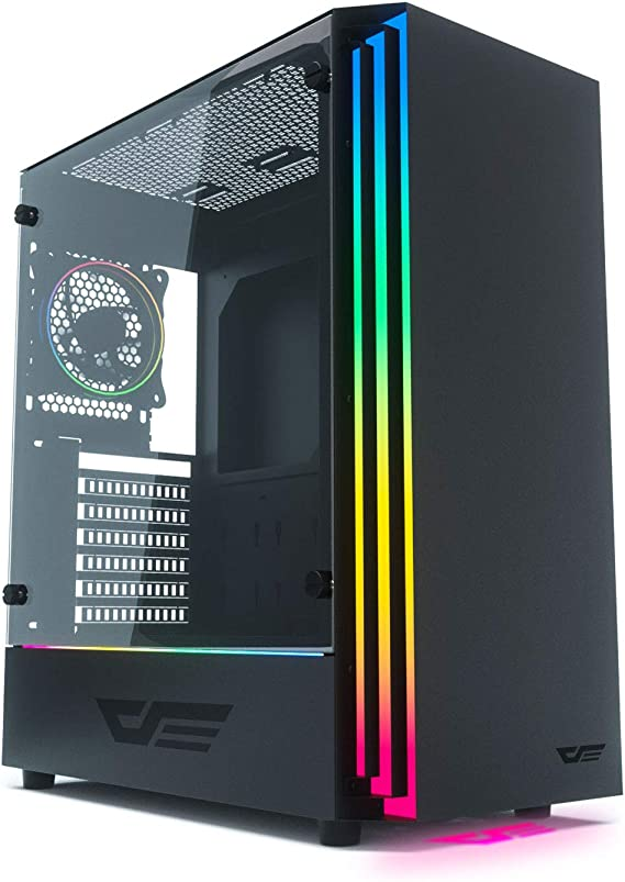 darkFlash J11 Black ATX Mid-Tower Desktop Computer Gaming Case USB 3.0 Ports Tempered Glass Windows with 120mm LED MR12 RGB Fan Pre-Installed (J11 (w/ 2pcs RGB Fans))