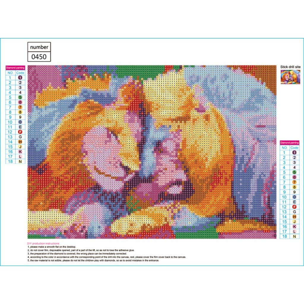 Outique Diamond Painting Kits for Adults Full Drill Round New - Wolf/Tiger Square DIY 5D Rhinestone Embroidery Pasted
