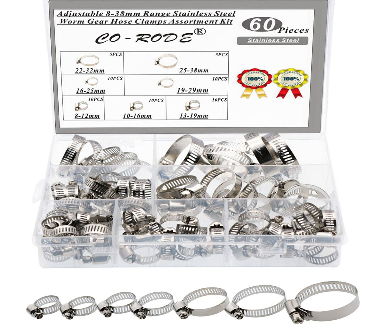 60PCS 8-38mm Range Adjustable Stainless Steel Worm Gear Hose Clamps Screw Assortment Kit CO RODE