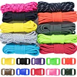 Zesty 500lb Survival Paracord Combo Crafting Kit by West Coast Paracord - 10 Colors of 500lb Cord & 10 FREE buckles - Type III Paracord - Make 10 Paracord bracelets-Great Gift