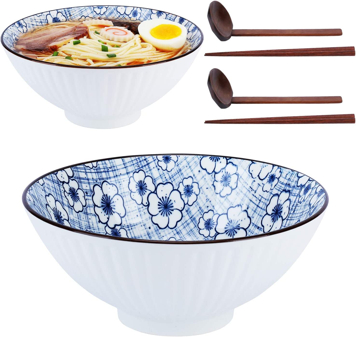 Rice Asian Noodles 45 oz Premium Deep Pho Bowl with Matching Spoon and Chopsticks for Soup 2 Sets Udon 6 Piece Cereal Plum blossom NJCharms Japanese Ceramic Ramen Noodle Bowls