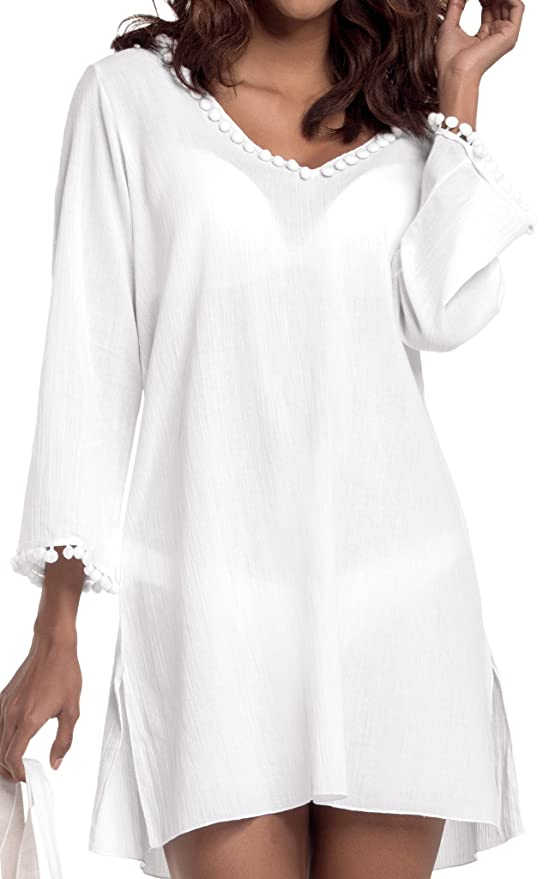 06e13afecaa White by Nature Women's Long Sleeve Hooded Cotton Beach Cover-Up at Amazon  Women's Clothing store: