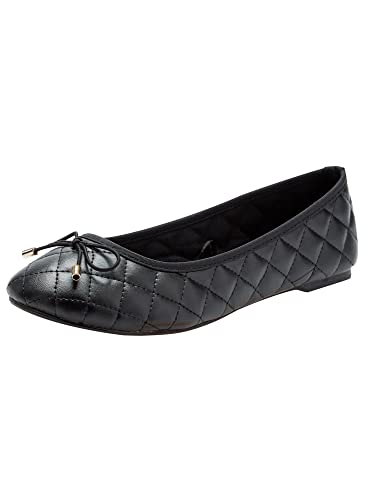 oodji Collection Damen Ballerinas Aus Wildlederimitat mit Schleife, Schwarz, 38 EU/5 UK