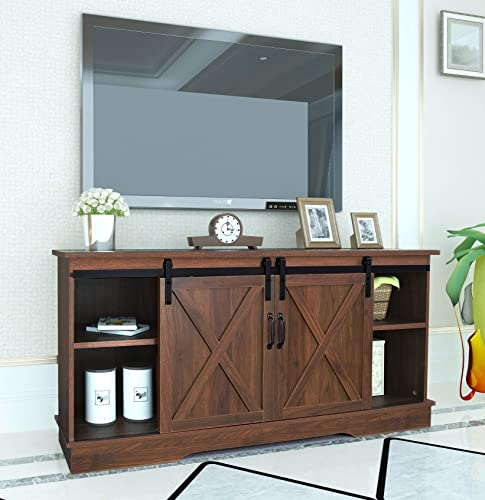 Rainbow Sophia Farmhouse Sliding Barn Door TV Stand for TVs up to 65 Dark Walnut