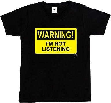 1Tee Mens Warning I'm Not Listening T-Shirt