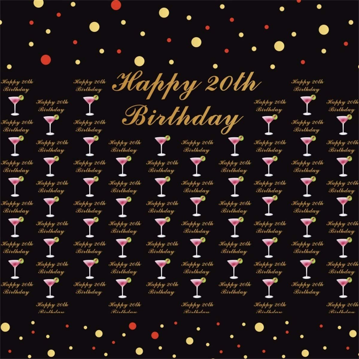 Yeele 20th Birthday Backdrop Twenty Year Old Birthday Party Photography Backdrop Daughter and Son Artistic Portrait 10x10ft Room Decor Students Acting Show Photo Booth Photoshoot Props