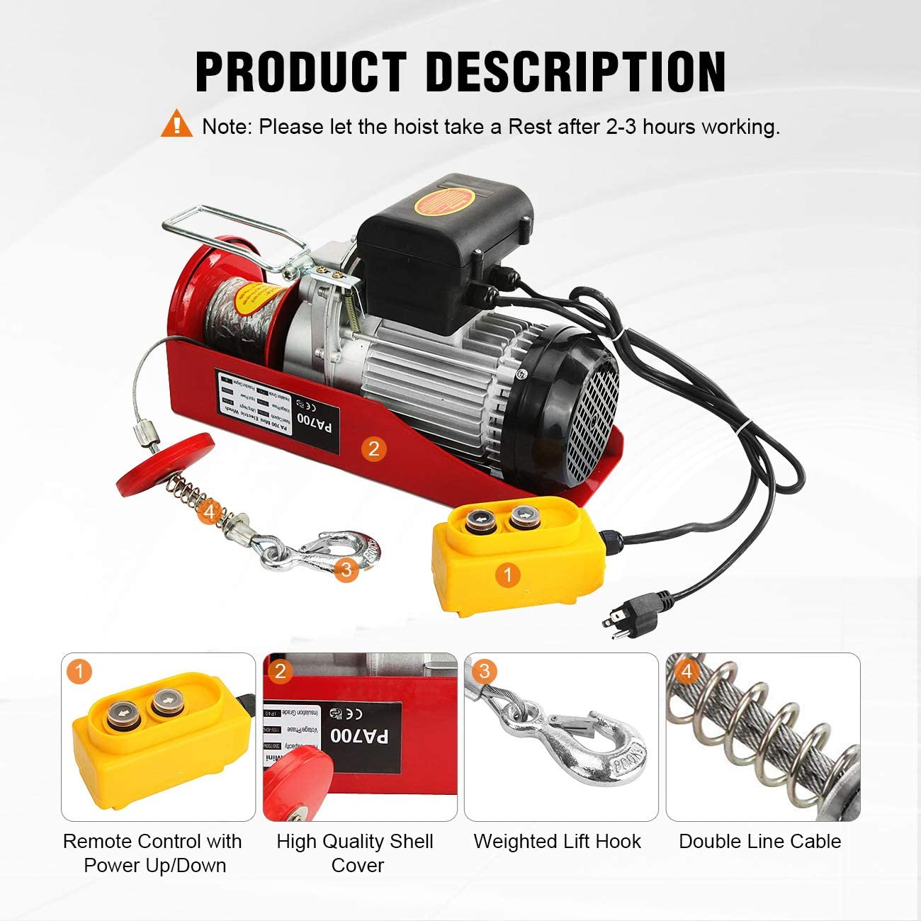 BEAMNOVA 1500lb Electric Hoist Lift Overhead Winch with Remote Control Single//Double Slings