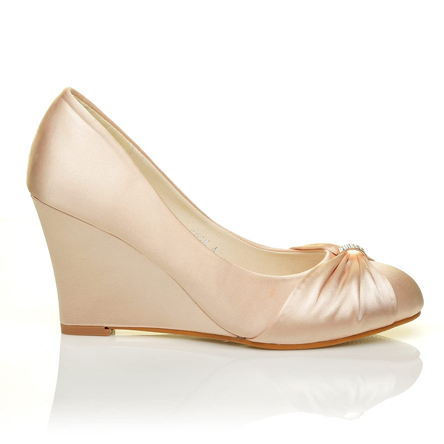 63acbf405488 Eden Champagne Gold Satin Wedge High Heel Bridal Court Shoes  Amazon.co.uk   Shoes   Bags