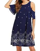 Romwe Women's Short Sleeve Floral Print Summer Beach Casual Loose Tunic Dress