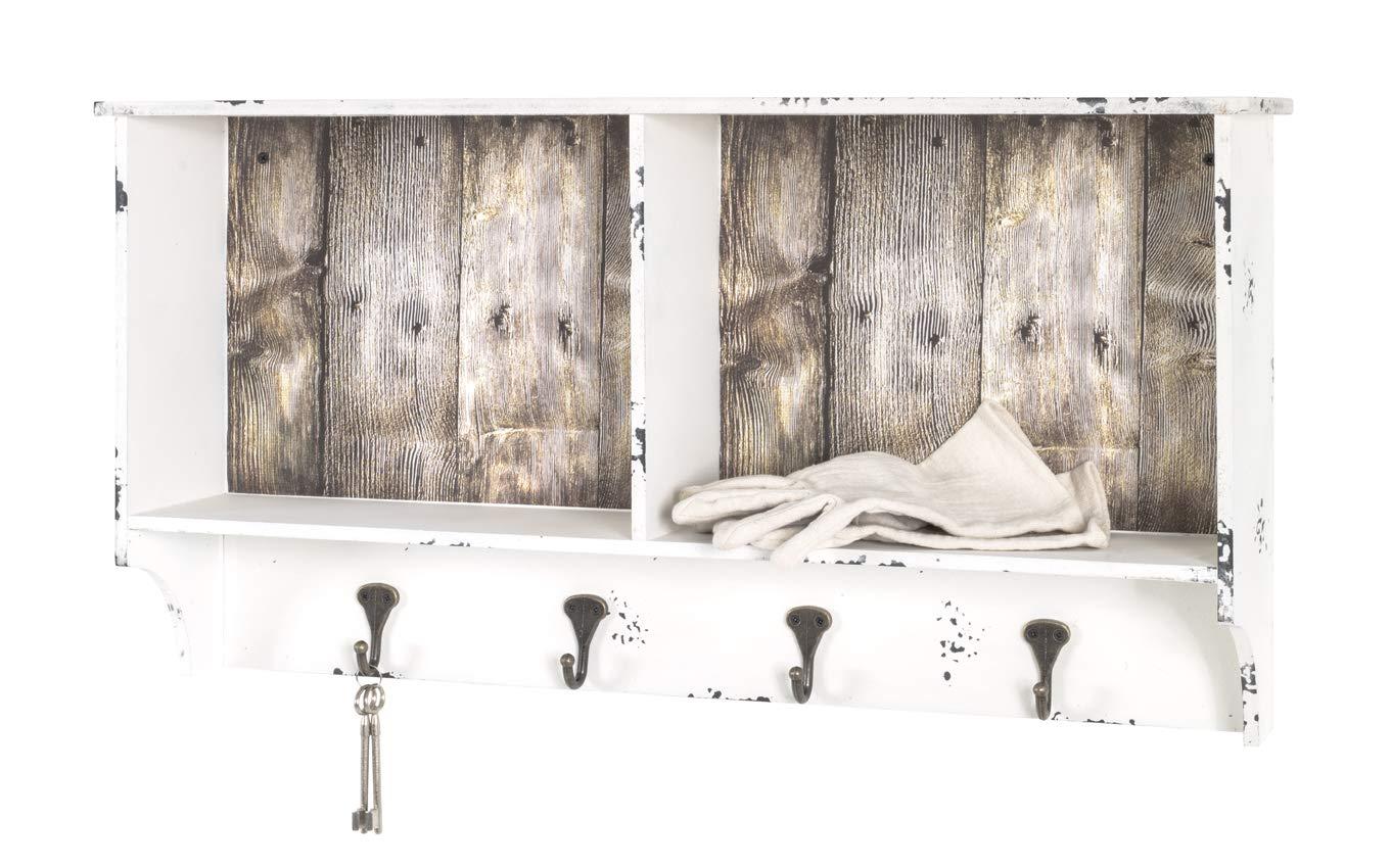Haku-Möbel Perchero de Pared, MDM, Weiß Gewischt-Vintage, 15 ...
