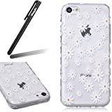 iPhone 5C Case, iPhone 5C Transparent Silicone Cover, Ukayfe Ultra Thin Clear Soft Gel TPU Silicone Case Cover with White Little Daisy Flower Pattern for iPhone 5C with 1 x Black Stylus