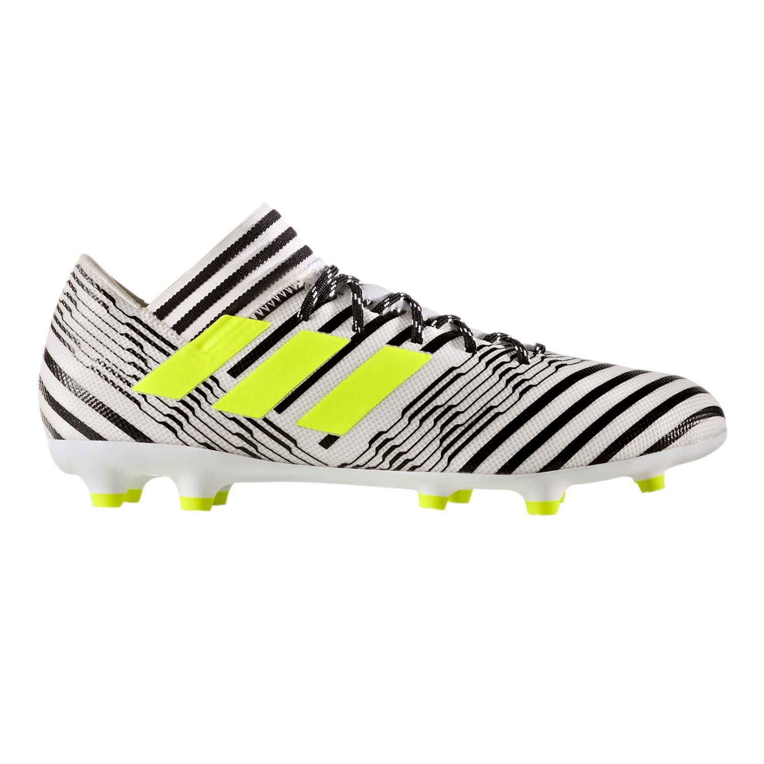 adidas Men's Nemeziz 17.3 Firm Ground Cleats Soccer Shoe, White/Solar Yellow/Black, (11.5 M US)