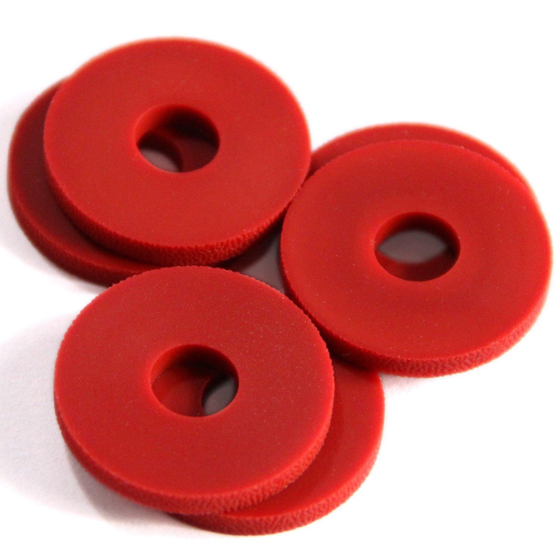 Stay Put Strap Locks Premium Silicone Rubber Guitar Strap Blocks 6, Red