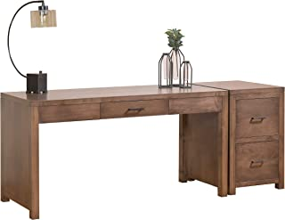"product image for DutchCrafters Amish Solid Wood 60"" Writing Desk with Pencil Drawer with a 2-Drawer File Cabinet Made in America"