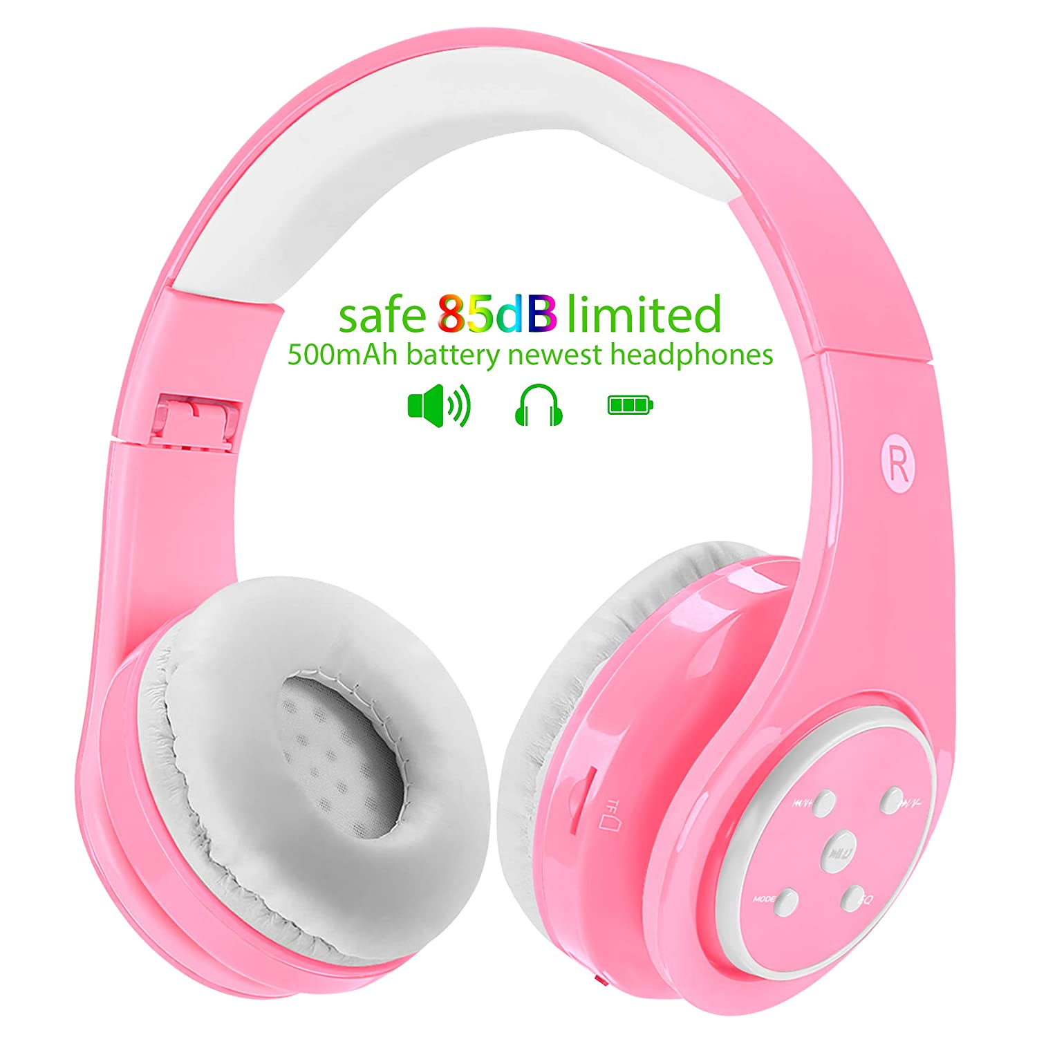 Kids Wireless Bluetooth Headphones Volume Limited 85db Stereo Sound Over-Ear Foldable Lightweight Children Headphones with Mic SD Card Slot up to 6-8 Hours Play time for Boys Girls Adults Pink