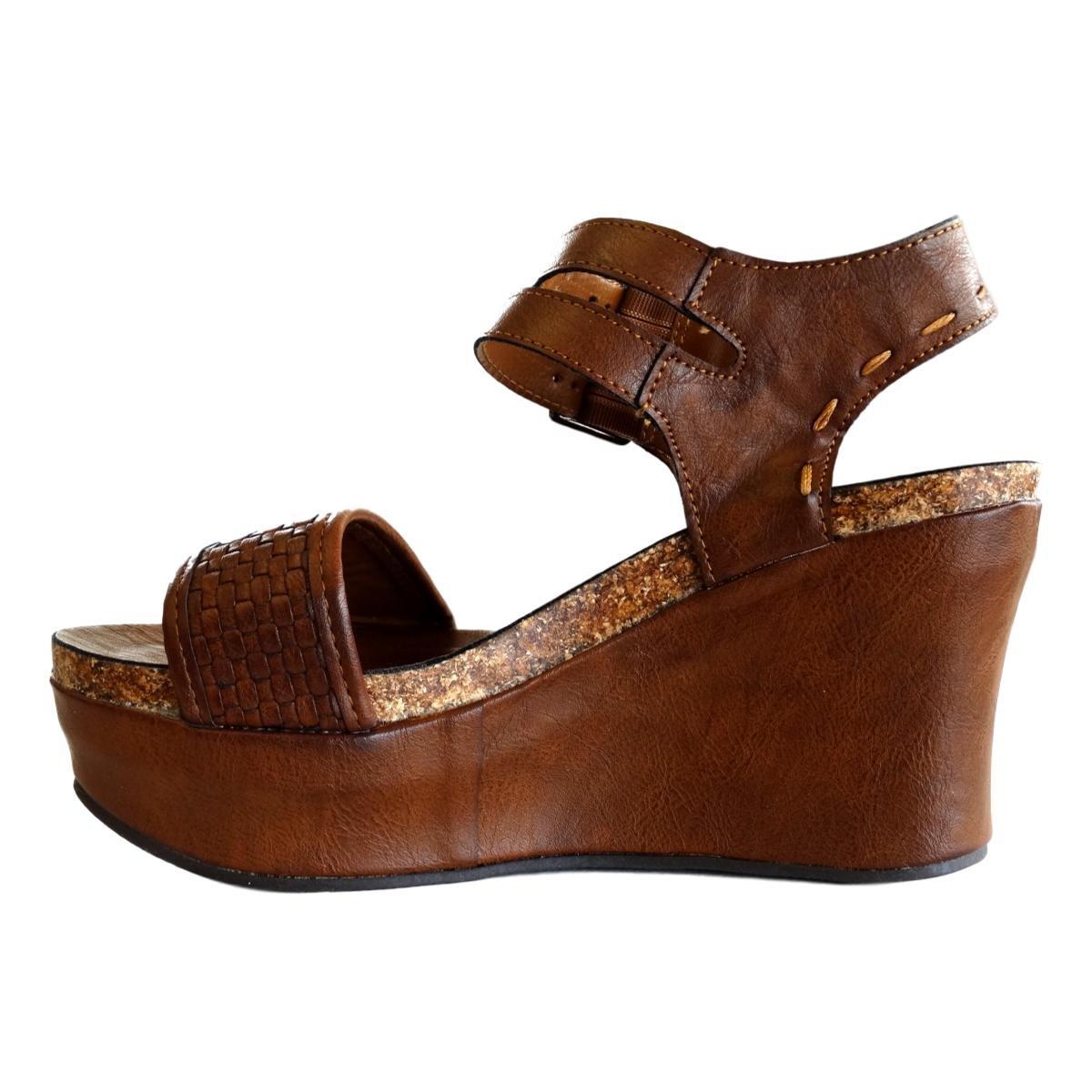 cecdceefaa Amazon.com   Pierre Dumas Hester-12 Women's Vegan Leather Double-Buckle  Rounded-Toe Wedge Sandals   Sandals