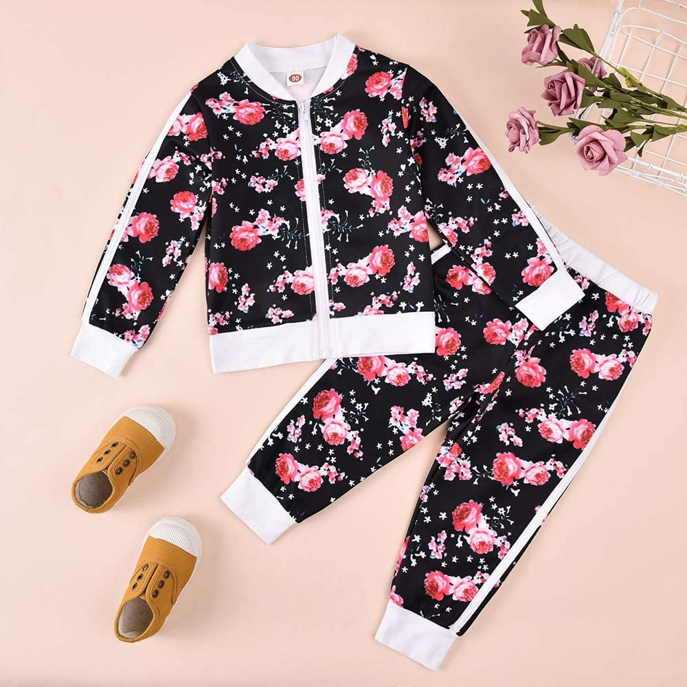 Pants Tracksuit Clothes Set Toddler Baby Girl Fall Outfit 2PCS Floral Sweatshirt