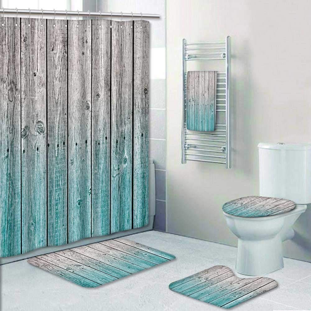 5 Piece Banded Shower Curtain Set Rustic Wood with Digital TonesEffect Country House Image Teal Grey Beach Pool Decorate The Bath by Philip-home (Image #1)