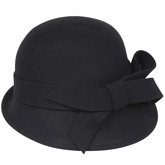 d961cbb3f3893b BABEYOND Womens 1920s Bucket Hat Winter Wool Crushable Bowler Hat Vintage  Cloche Round Hat with Bow Accent (Black) at Amazon Women's Clothing store: