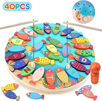 BeebeeRun 2 en 1 Juego de Pesca Magnetico,Juguetes para 3 4 5 Años Niñas Niños,Alfabeto Magnético de Madera Educación Juguetes Regalos(40 PCS): Amazon.es: Juguetes y juegos