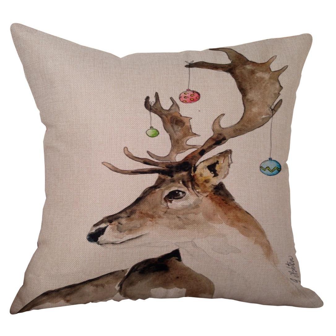 Morecome New Cotton Linen Christmas Deer Pillow Case Sofa Home Car Cushion Cover Decor (A)