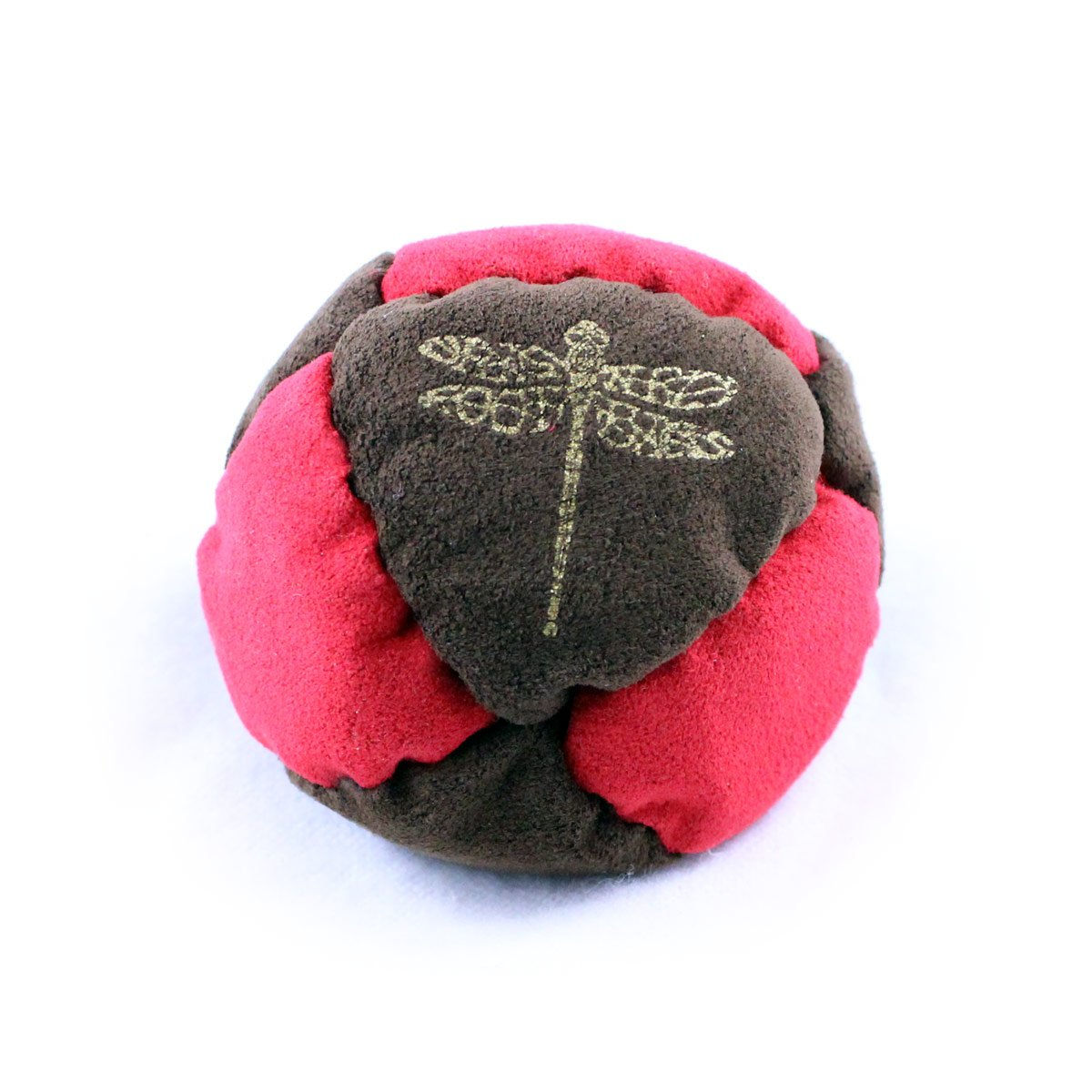 Dragonfly Footbags Brown and Red Pogo 8 Panel Metal Filled Proseries (Hacky Sack) by Dragonfly Footbags