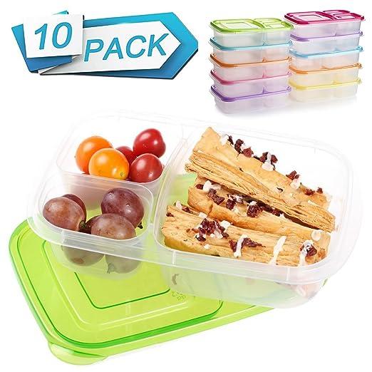 Comida Prep recipientes 3 compartimento 10 unidades comida Prep ...