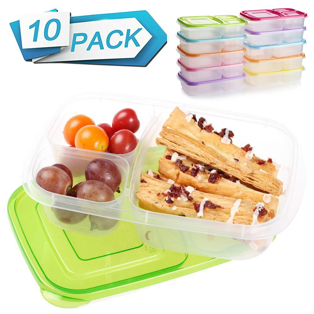 Meal Prep Containers 3 Compartment 10 Pack Food Prep Containers with Lids Portion Control Reauable Freezer Food Storage Plastic Salad Stackable Bento Lunch Box, Microwave, Dishwasher Safe by SCIONE (Image #1)