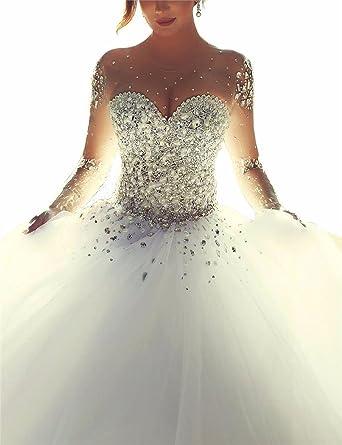 Changjie Damen Kristall Perlen Prinzessin Langarm Hochzeitskleid ...