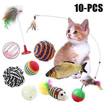 Juego De Juguete Para Gatos, Legendog 10 Piezas Paquete De Variedad De Juguetes Interactivos Para Gatos Juguete Para Mascotas Juego De Juguete Para Gato: ...